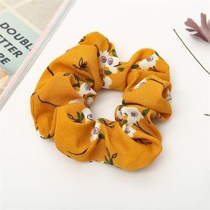 Accessories - Yellow Floral Scrunchie Elastic Band Tie